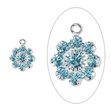 2 Silver Plated Brass 10mm Flower Charms with Aquamarine Swarovski Crystals *