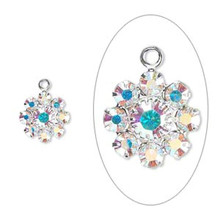 2 Silver Plated Brass 10mm Flower Charms with AB Clear Swarovski Crystals *