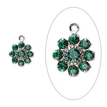 2 Silver Plated Brass 10mm Flower Charms with Emerald Green Swarovski Crystals *