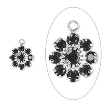 2 Silver Plated Brass 10mm Flower Charms with Jet Black Swarovski Crystals *