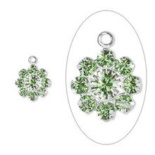 2 Silver Plated Brass 10mm Flower Charms with Peridot Swarovski Crystals *