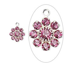 2 Silver Plated Brass 10mm Flower Charms with Rose Pink Swarovski Crystals *