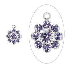 2 Silver Plated Brass 10mm Flower Charms with Tanzanite Swarovski Crystals *