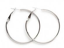 1 Pair Silver Plated Steel 40mm Round Hoop Earrings