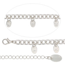 "1 Silver Finished Steel  Bracelet Sizing Chain 14"" with 9x6mm Tags & Extender"