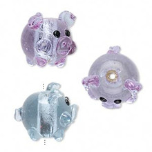 1 Lampwork Glass Blue Lavender with Silver Foil PIG Focal Bead *