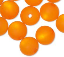 16 German Cool Frost Matte Orange Resin 10mm Round Beads *