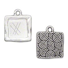 1 Antiqued Silver Plated Pewter 17.5mm Square Textured Picture Pendant *