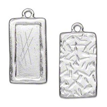 1 Tierracast Rhodium Plated Pewter 27x15.5mm Rectangle Picture Pendant *