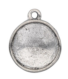 1 Antiqued Pewter 14mm Round with 12mm Rivoli Setting Drop