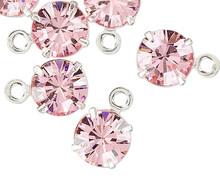 12 Rhodium Plated Brass Swarovski Lt Rose Pink Crystal 6.15-6.32mm Round Drop Charms