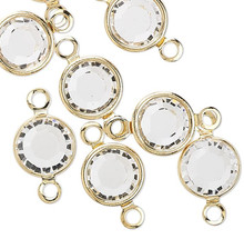 48 Gold Plated Brass 6.14-6.32mm Links with Swarovski Clear Crystals