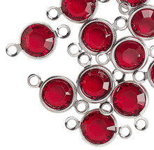 12 Silver Plated Brass 6.14-6.32mm Links with Swarovski Siam Red Crystals