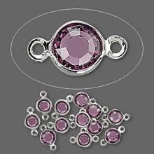 12 Rhodium Plated Brass 4.0-4.1mm Links with Swarovski Amethyst Crystals *