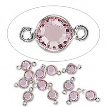 12 Silver Plated Brass 4.0-4.1mm Links with Swarovski Lt Rose Pink Crystals *