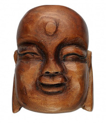 1 Brown Natural Wood 38x28mm Carved Buddha Head Bead