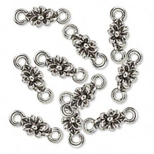 10 Antiqued Silver Plated Pewter Flower LINKS ~ 6x16mm  *