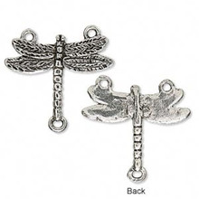 4 Antiqued Silver Plated Pewter 24x18mm Dragonfly Connectors with 3 Loops  *