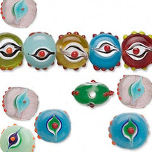 1 Strand Lampworked Glass 10mm Multi Color Bumpy Evil EYE Beads *