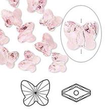 12 Swarovski 8mm Light Rose Crystal Butterfly Beads (5754)