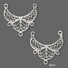 1 Sterling Silver 21x14mm Filigree Connector *