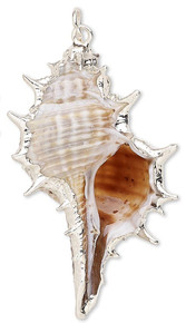 2 Silver Plated Steel & Enamel Murex Shell (Natural) Charms ~ 45x20mm