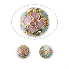 10 Gold Plated Copper Enamel Multicolored Cloisonne 8mm Round Beads