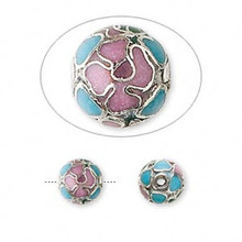 10 Silver Plated Copper Enamel Multicolored Cloisonne 8mm Round Beads