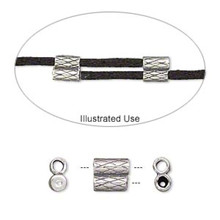 1 Antiqued Sterling Silver 2-Piece Set 7x6.5mm Slide Clasp Fits 2mm Cord