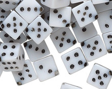 100 Opaque White Acrylic 5mm Dice Beads with Black Dots