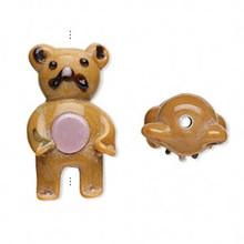 2 Lampwork Glass Brown 30x15mm Standing Teddy Bear Beads *