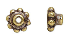 4 Antiqued Gold Plated Pewter Bead Aligners & Hole Adaptors To Stop Wobbles