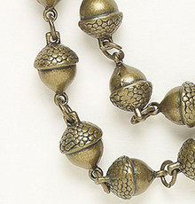"12"" Antiqued Brass Plated Pewter 3D 10mm ACORN Connectors or Chain"
