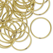 100 Round 18mm Golden Brass Jump Rings ~  20 gauge ~  Closed