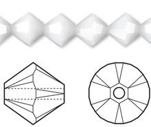 24 Swarovski White Alabaster 6mm Xilion Crystal Bicone Beads (5328) *