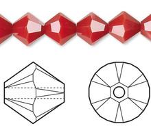 24 Swarovski Dark Red Coral 6mm Xilion Crystal Bicone Beads (5328) *