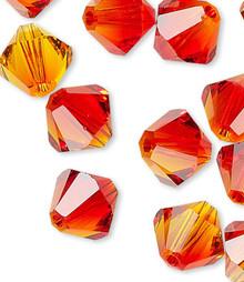 24 Swarovski Fire Opal 6mm Xilion Crystal Bicone Beads (5328)