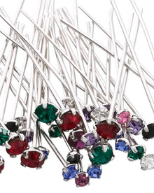 48 Rhodium Plated Brass Headpins with Swarovski Crystals  ~ Mix of Colors