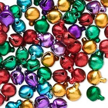 100 Jewel Tones Aluminum Jingle Bells  ~ 6mm