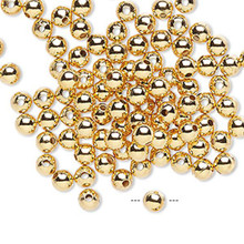 100 Gold Plated Brass Smooth Round Metal Beads   ~ 4mm