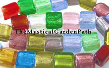 12 Multi Lampwork Square Foil Lined Beads ~ Mix  ~ 15x15mm  *