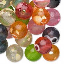 100 Bright Spotted Acrylic Round Bead Mix ~ 12mm *