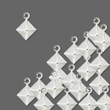 100 Double-sided Silver Plated Brass Diamond Drops ~ 9x8mm