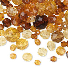 100 Czech Fire Polished Glass Faceted Round Beads ~  Amber Topaz Mix