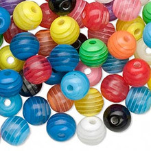 100 Laminated Acrylic Assorted Stripe Round Beads ~ 8mm