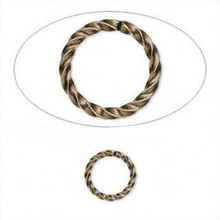 100 Antiqued Gold Plated Brass 10mm Fancy Twisted 21 Gauge Jump Rings