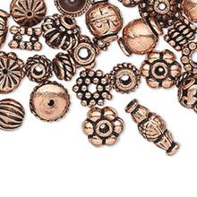 100 Antiqued Copper Bead & Bead Cap Mix ~ 4x1mm-11x5mm