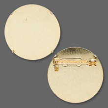 10 Gold Plated Steel 26mm Pin Back for Perforated Beading Discs