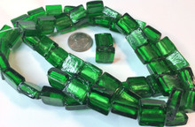 10 OR 30 Square Lampwork Foil Lined Beads ~ Emerald Green ~12x12mm  *