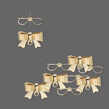 10 Gold Plated Brass  Bow with Loop ~ Charm Drops ~ 10x7mm